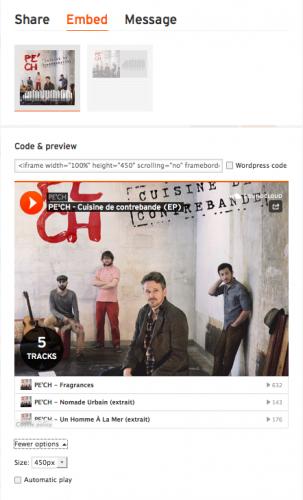 code dintegration soundcloud