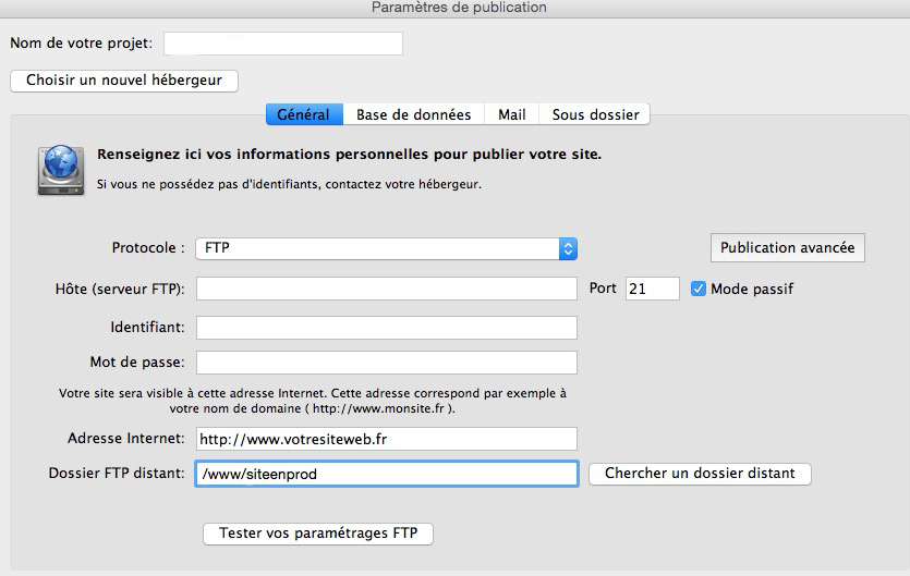 deposer photos sur lien ftp
