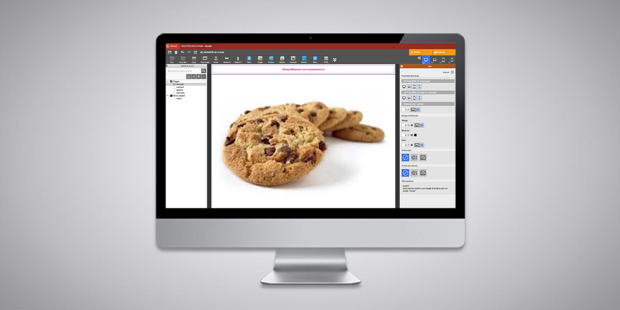 Bandeau d'information cookies dans WebAcappella Responsive