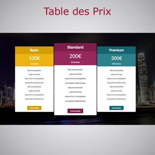 Table des Prix WARC