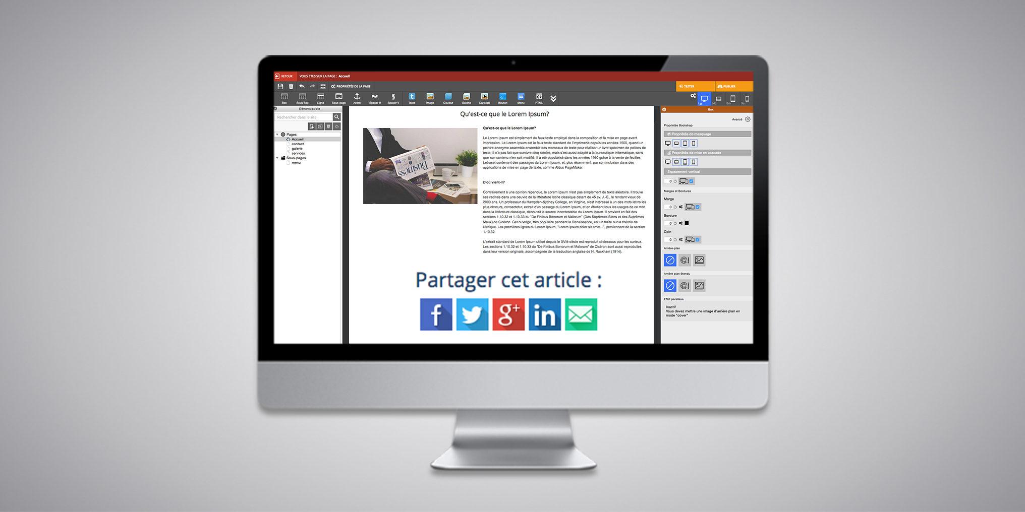 Des boutons de partage vers les réseaux sociaux dans WebAcappella Responsive